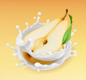 Pear and milk splash. Fruit and yogurt. 3d vector icon. Pear and milk splash. Fruit and yogurt. Realistic illustration. 3d vector icon Royalty Free Stock Photography