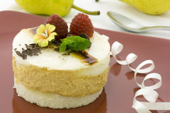 Pear mousse cake Stock Photos