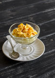 Pear with natural yoghurt, corn flakes and honey - a delicious dessert, breakfast or snack . Royalty Free Stock Images
