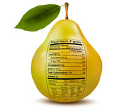 Pear with nutrition facts label. Concept of health Stock Images