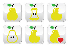 Pear, pear core, bitten, half  buttons Stock Photo
