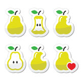 Pear, pear core, bitten, half vector icons Stock Photo