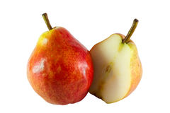 Pear and the pear halves stock photography