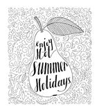 Pear with the phrase Enjoy your hot summer holidays. Royalty Free Stock Photos