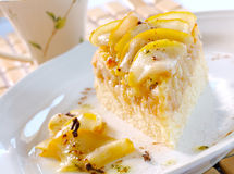 Pear pie. Delicious and sweet dessert - pear pie with slices of pear Royalty Free Stock Image