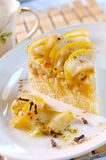 Pear pie. Delicious and sweet dessert - pear pie with slices of pear Royalty Free Stock Photos