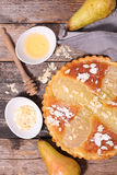 Pear pie with almonds Stock Photography