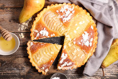 Pear pie with almonds Royalty Free Stock Photos