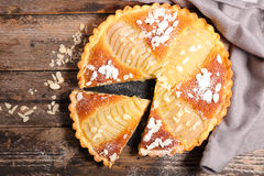 Pear pie with almonds Royalty Free Stock Images
