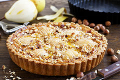 Pear pie with nuts Stock Photos