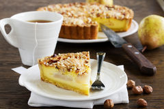 Pear pie with nuts Royalty Free Stock Images