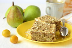 Pear pie with oat flakes Royalty Free Stock Images