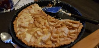 Pear pie started stock image