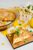 Pear pie. Sweet yellow homemade pear pie on white background royalty free stock images