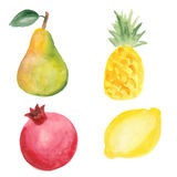 Pear, pinapple, pomegranate and lemon Royalty Free Stock Photography