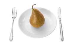 Pear on Plate Royalty Free Stock Photography