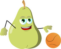 Pear playing basketball Royalty Free Stock Images