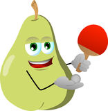 Pear playing ping pong Royalty Free Stock Photo