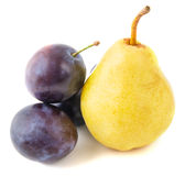 Pear and plum Royalty Free Stock Photography
