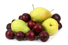 Pear and plum  on white Royalty Free Stock Photo