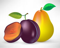 Pear and plums Royalty Free Stock Photos
