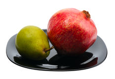 Pear and Pomegranate Stock Images