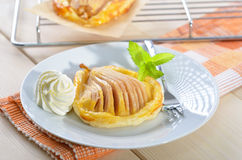 Pear on puff pastry Royalty Free Stock Images