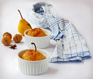 Pear in a puff test with honey Stock Images