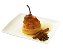 Pear in a puff test with honey Royalty Free Stock Photo