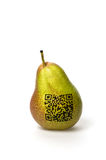 Pear with qr code Royalty Free Stock Images