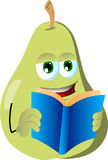 Pear reading Royalty Free Stock Image