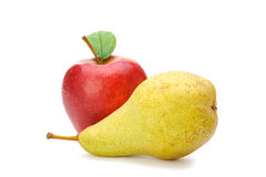 Pear and red apple. Isolated on white background Royalty Free Stock Images