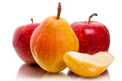 Pear and red apples Royalty Free Stock Photos