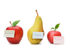 Pear and red apples with paper notes Stock Photo
