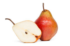 Pear. Red pear isolated on white background. Studio shot royalty free stock image