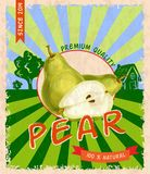 Pear retro poster Royalty Free Stock Image