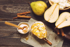 Pear with ricotta cheese, honey and cinnamon Royalty Free Stock Photo