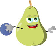 Pear rolling a bowling ball Royalty Free Stock Photo