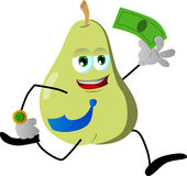 Pear running with money Royalty Free Stock Image