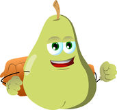 Pear with school bag Royalty Free Stock Image