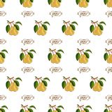 Pear seamless pattern. Fresh vegetables vector concept. A healthy diet is a flat style of illustration.