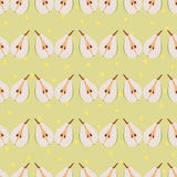 Pear seamless pattern. Repeating illustrations of pears at a yellow dotted background in pattern vector illustration
