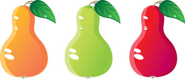 Pear set. Pear of various grades set. Yellow, green and red.  Isolated on a white background. Vector will be aditional Royalty Free Stock Photography