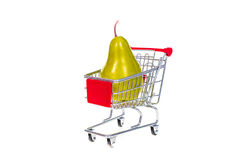 Pear in shopping cart isolated on white background Stock Photo