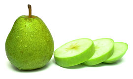 Pear and slices of the apple Royalty Free Stock Photo