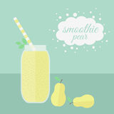 Pear smoothie in jar on a table Stock Photo