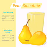 Pear smoothie recipe. Menu element for cafe or restaurant with ingridients and nutrition facts in cartoon style. For Stock Photos