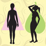 Pear Spoon Triangle Body Type. Vector Illustration of female body shape pear also known as bell, triangle and spoon. Shape with with larger curves at hip area royalty free illustration