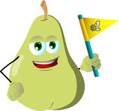 Pear sports fan with flag Stock Photo
