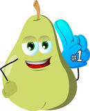 Pear sports fan with glove Royalty Free Stock Photography
